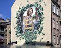 Mural w centrum Katowic upamiętniający Krystynę Bochenek
