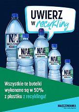 Nałęczowianka pierwszą marką w Polsce z pełnym portfolio wody niegazowanej w butelkach w 50%% z plastiku z recyklingu