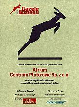 Gazela Biznesu 2007 dla Atrium Centrum Ploterowe